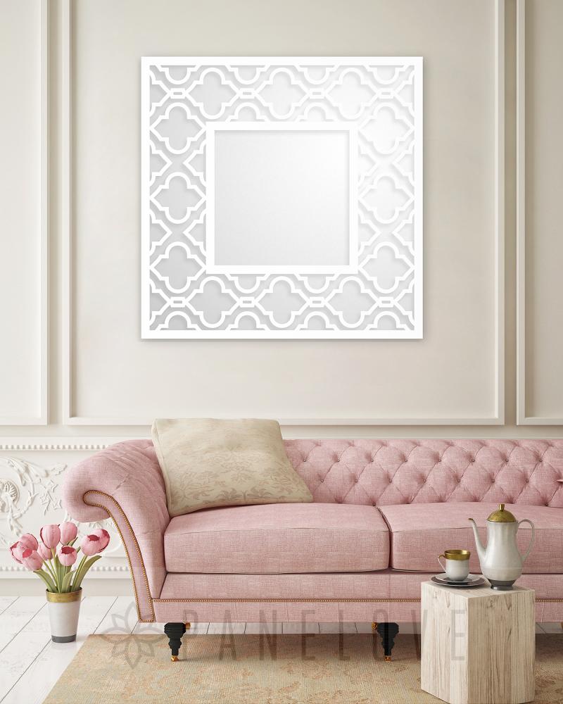 Ażurowa Kwadratowa Rama Marokańska Panel Do Lustra O Wymiarze 100x100cm
