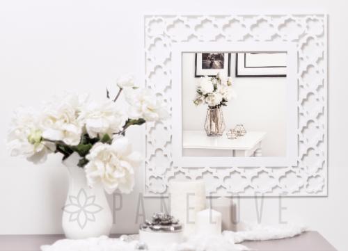 Biała Ażurowa Rama Marokańska Panel Dekoracyjny Do Luster Ikea O Wymiarach Ramy 47cm